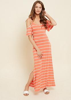 Coral Striped Cold Shoulder Maxi Dress
