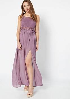 Purple Crocheted Open Back Side Slit Maxi Dress