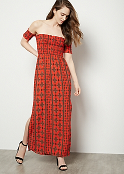 Red Border Print Smocked Off The Shoulder Maxi Dress