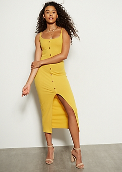 Mustard Button Down Open Front Maxi Dress
