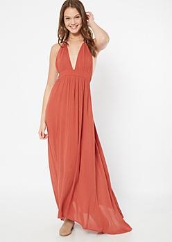 Burnt Orange Tassel Halter Maxi Dress