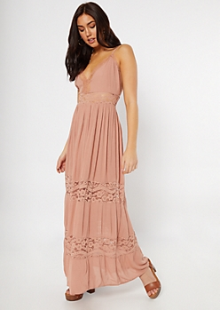 Medium Pink Lace Insert Maxi Dress