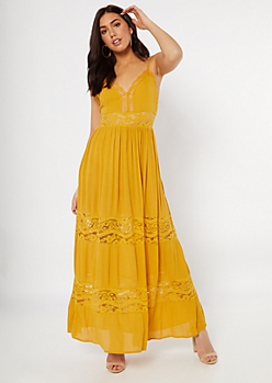 Mustard Lace Insert Maxi Dress