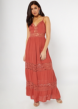 Burnt Orange Lace Insert Maxi Dress