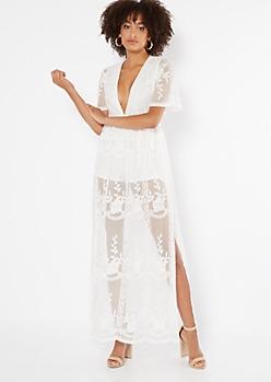 Ivory V Neck Sheer Lace Kimono Maxi Romper