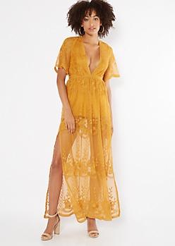 Mustard V Neck Sheer Lace Kimono Maxi Romper