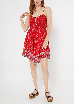 Red Border Print Smocked Lace Up Mini Dress