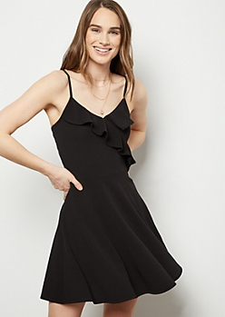 Black Flounce Surplice Skater Dress