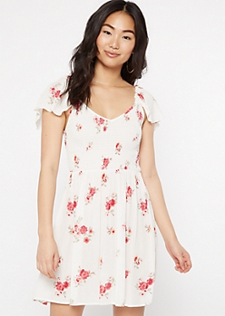 White Floral Print Smock Flutter Sleeve Dress