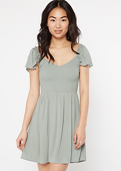 Green Smock Flutter Sleeve Dress