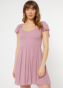 Mauve Smock Flutter Sleeve Dress