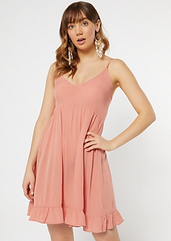 Coral Ruffle Hem V Neck Dress