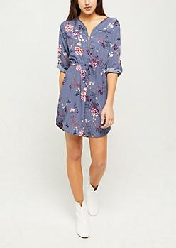 Navy Floral Zipper Front Cinched Shirt Dress