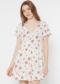 Ivory Floral Print Faux Button Ruffle Dress