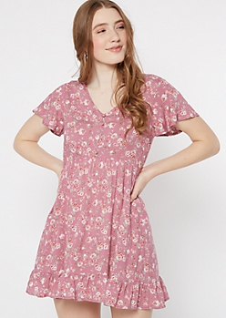 Pink Floral Print Faux Button Ruffle Dress