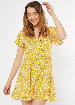 Yellow Daisy Print Flutter Hem Dress