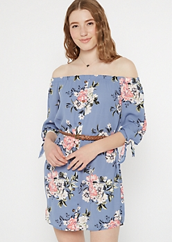 Blue Floral Print Off The Shoulder Button Down Dress
