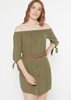 Olive Off The Shoulder Button Down Dress