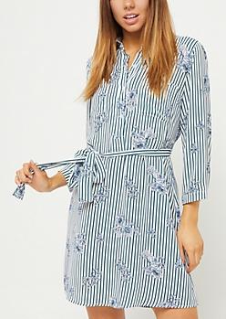 White Stripe & Floral Shirt Dress