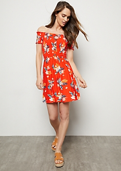 Red Tropical Print Super Soft Button Down Smocked Dress