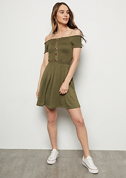 Olive Super Soft Button Down Smocked Dress