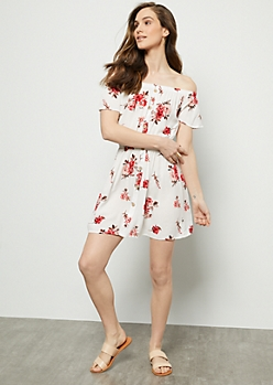 White Floral Print Off The Shoulder Button Down Dress