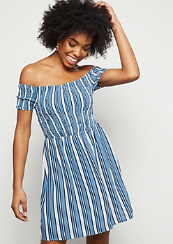 Blue Striped Smocked Off The Shoulder Mini Dress