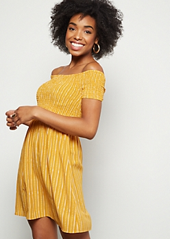 Mustard Striped Smocked Off The Shoulder Mini Dress