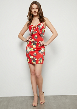 Red Floral Print Tie Front Dress