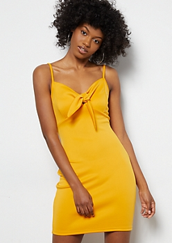 Mustard Tie Front Sleeveless Dress