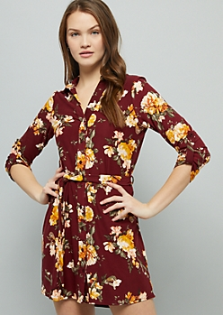 Burgundy Floral Print Super Soft Button Down Mini Dress