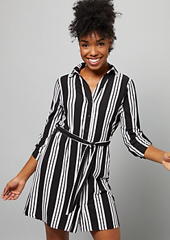 Black Striped Super Soft Button Down Mini Dress