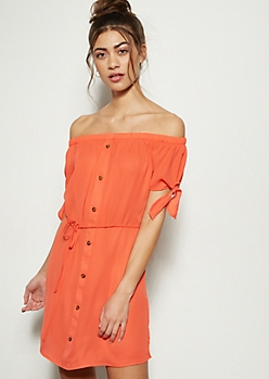 9d2c23dca1e8 Coral Orange Button Front Mini Dress