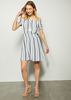 d8edc96d87a White Striped Off The Shoulder Smocked Waist Dress