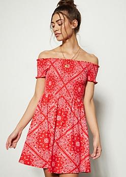 Red Border Print Off The Shoulder Super Soft Smocked Dress