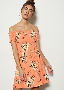 54b755514231 Coral Floral Print Off The Shoulder Super Soft Smocked Dress