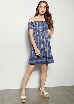 Blue Border Print Off The Shoulder Super Soft Smocked Dress