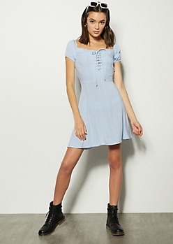 Blue Lace Up Off The Shoulder Dress