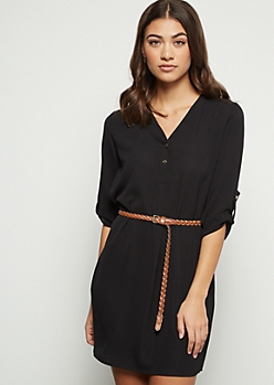 Black Crepe Braid Belted Mini Dress