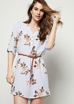 Light Blue Floral Print Crepe Braid Belted Mini Dress