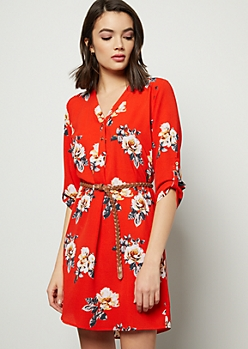 Red Floral Print Crepe Braid Belted Mini Dress