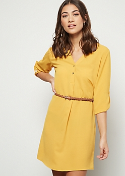 Mustard Crepe Braid Belted Mini Dress