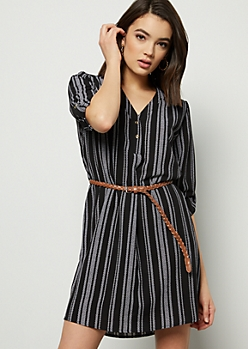 Black Striped Crepe Braid Belted Mini Dress