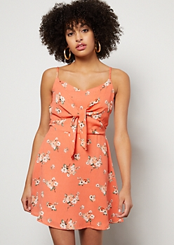 9893345ed13 Coral Floral Print Tie Front Bodice Dress