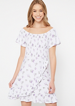 Ivory Floral Print Off The Shoulder Dress