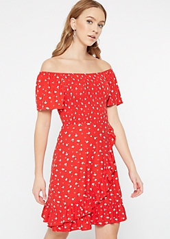 Red Floral Print Off The Shoulder Dress