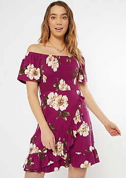 Purple Floral Print Off The Shoulder Dress