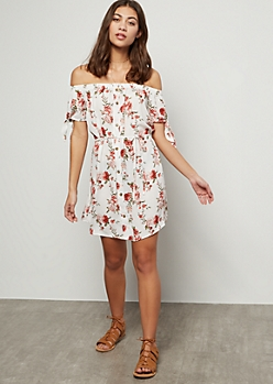 Ivory Floral Print Off The Shoulder Tie Sleeve Dress