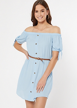 Light Blue Off The Shoulder Faux Button Dress