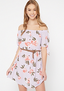 Lavender Floral Print Off The Shoulder Faux Button Dress